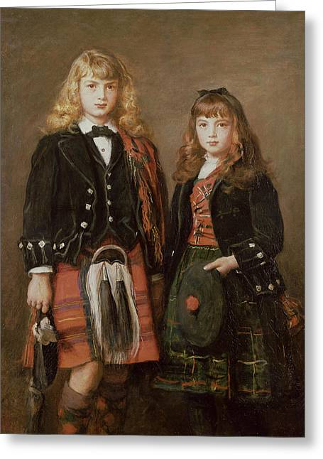 Two Bairns Oil On Canvas Greeting Card