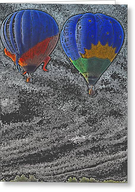 Two Balloons In Colored Pencil  Greeting Card