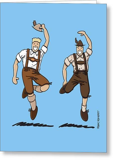 Two Bavarian Lederhosen Men Greeting Card by Frank Ramspott