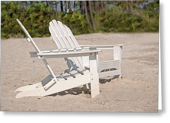 Greeting Card featuring the photograph Two Beach Chairs by Charles Beeler