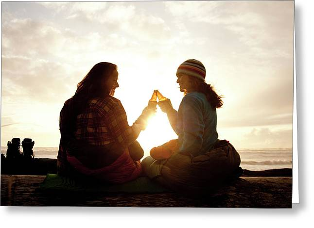 Two Beautiful Women And Toast A Beer Greeting Card