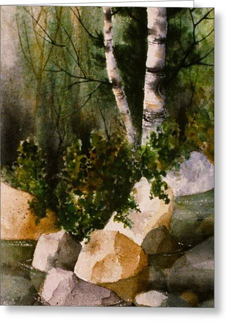 Two Birch By Rocky Stream Greeting Card by Teresa Ascone