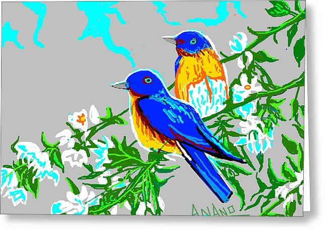 Two Birds Greeting Card by Anand Swaroop Manchiraju