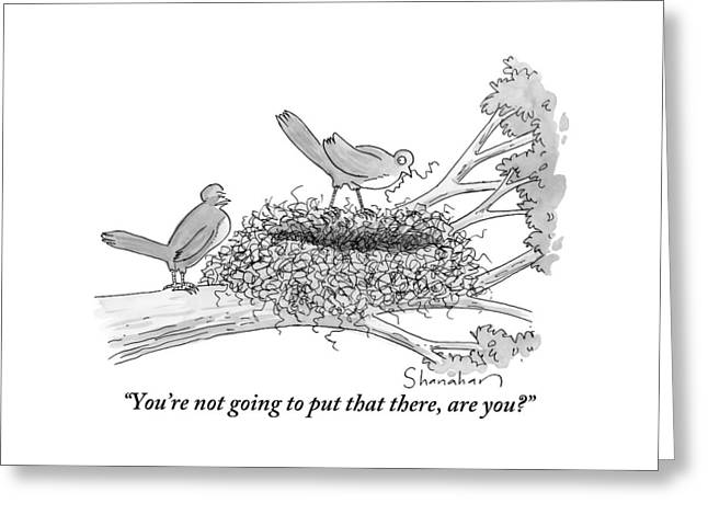 Two Birds Are Seen In A Nest In A Tree Greeting Card