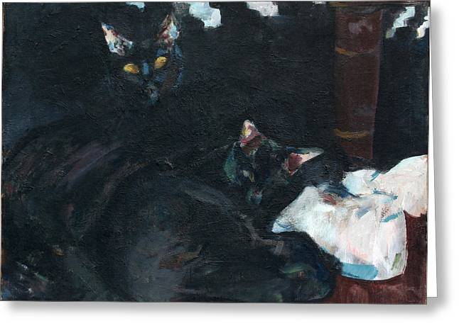 Two Black Cats Greeting Card by Anita Dale Livaditis