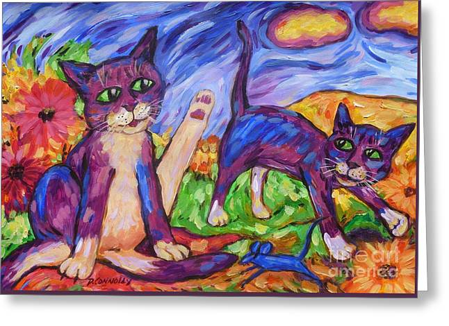 Greeting Card featuring the painting Two Blue Cats Among Daisies by Dianne  Connolly