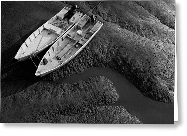 Two Boats At Low Tide Greeting Card