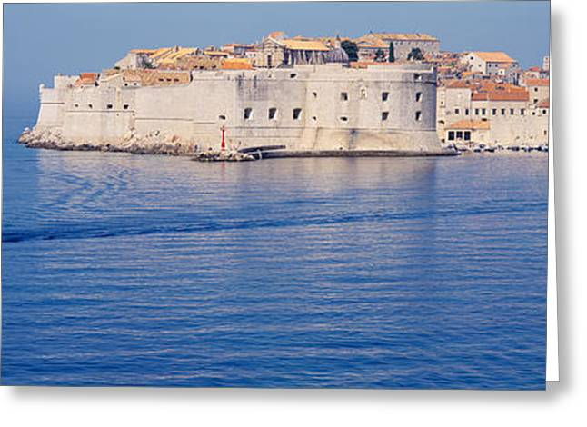 Two Boats In The Sea, Dubrovnik, Croatia Greeting Card by Panoramic Images