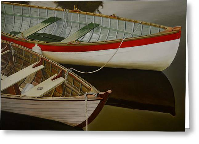 Greeting Card featuring the painting Two Boats by Thu Nguyen