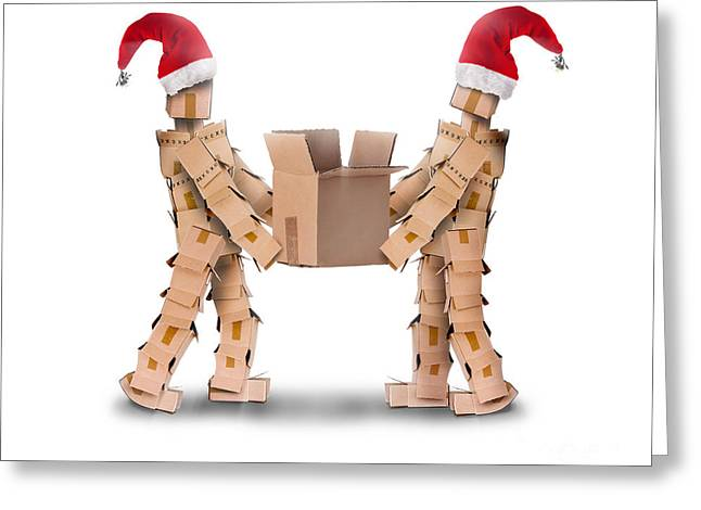 Two Boxmen In Christmas Hats Greeting Card by Simon Bratt Photography LRPS