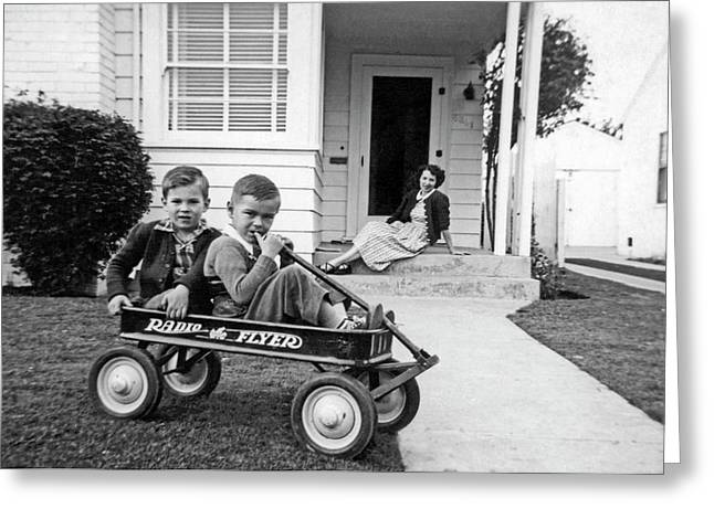 Two Boys And A Radio Flyer Wagon Greeting Card by Underwood Archives