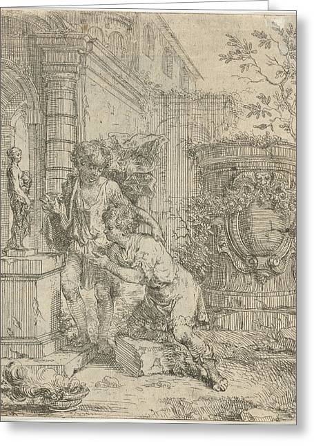 Two Boys At Statuette Of Venus, Lodewijk De Deyster Greeting Card