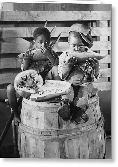 Two Boys Eating Watermelon Greeting Card by Underwood Archives