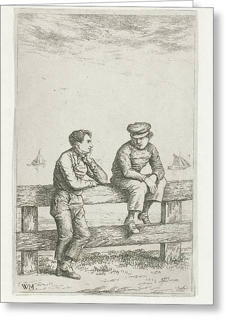 Two Boys On A Fence, Christiaan Wilhelmus Moorrees Greeting Card