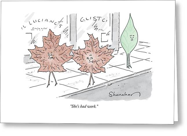 Two Brown Leaves Speak About A Green Leaf Greeting Card