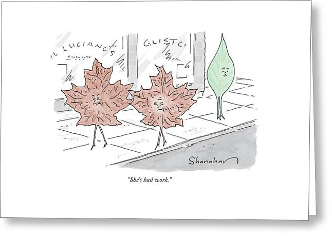 Two Brown Leaves Speak About A Green Leaf Greeting Card by Danny Shanahan