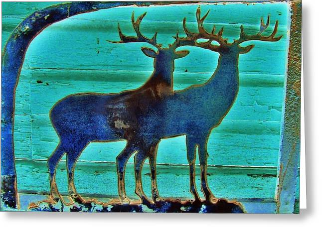 Greeting Card featuring the pyrography Two Bucks by Larry Campbell