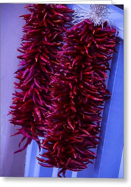 Two Bunches Of Red Peppers Greeting Card by Garry Gay