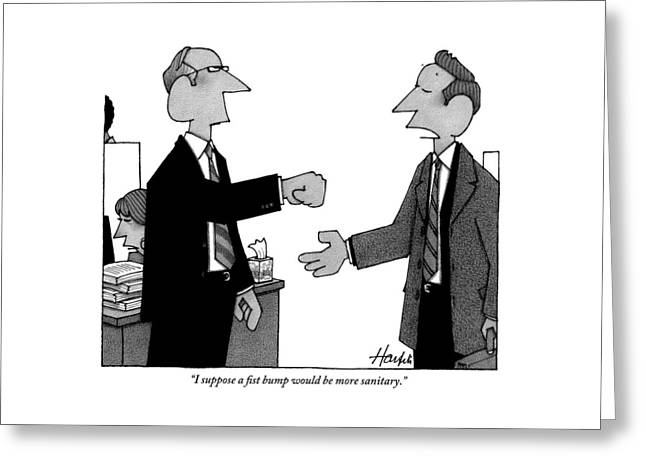Two Business Men Stand Together Greeting Card