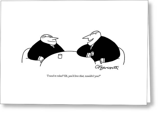 Two Businessmen Sit And Speak At A Table Digibuy Greeting Card by Charles Barsotti