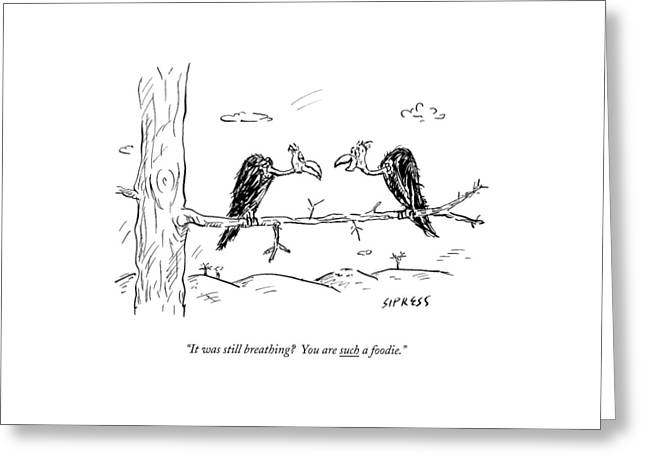 Two Buzzards Sit And Talk On A Branch Greeting Card by David Sipress
