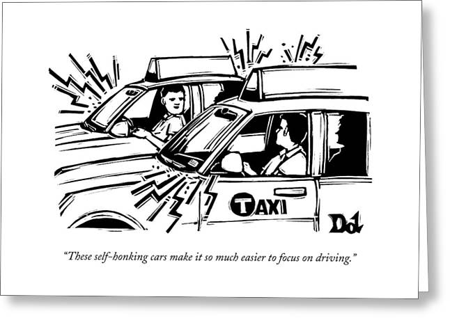 Two Cab Drivers Speak To Each Other Greeting Card
