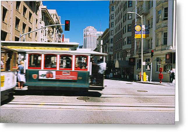 Two Cable Cars On A Road, Downtown, San Greeting Card by Panoramic Images