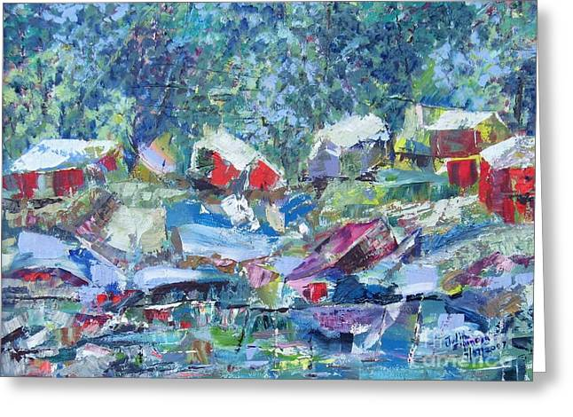 Two Canoes - Sold Greeting Card by Judith Espinoza
