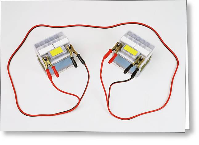 Two Car Batteries Attached By Jump Leads Greeting Card by Dorling Kindersley/uig