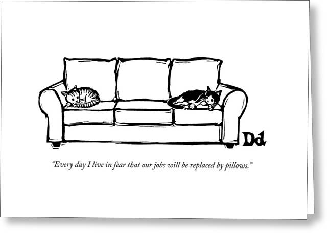 Two Cats Curl Up At Each End Of A Sofa Greeting Card