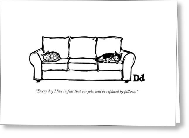 Two Cats Curl Up At Each End Of A Sofa Greeting Card by Drew Dernavich