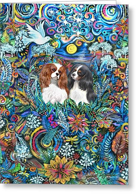 Two Cavaliers In A Garden Greeting Card