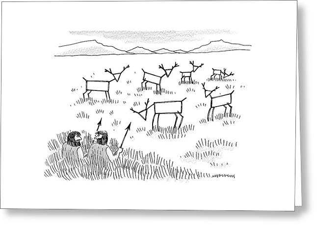 Two Cavemen Are Hunting Geometrically Shaped Deer Greeting Card