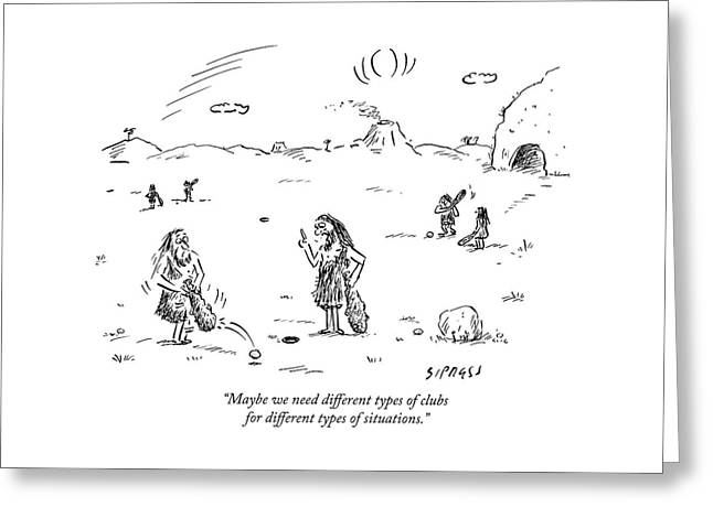 Two Cavemen Play A Form Of Golf With Caveman Greeting Card