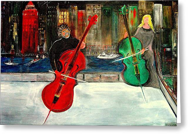 Two  Cello Players  Rooftop  Greeting Card