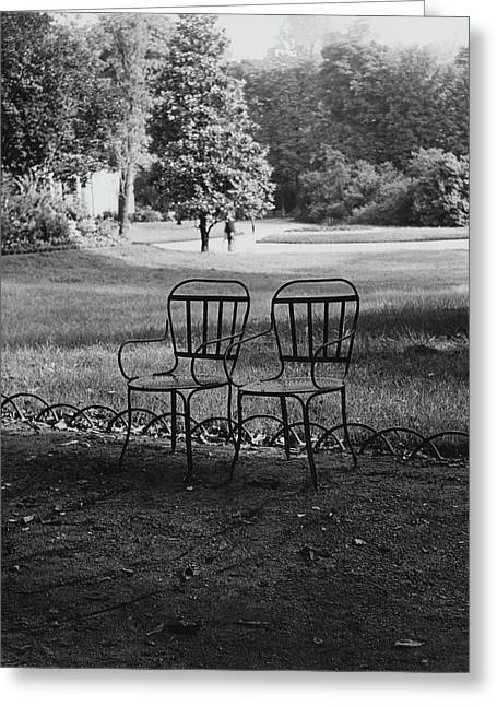 Two Chairs Near The Champs Elysees Greeting Card by Erwin Blumenfeld