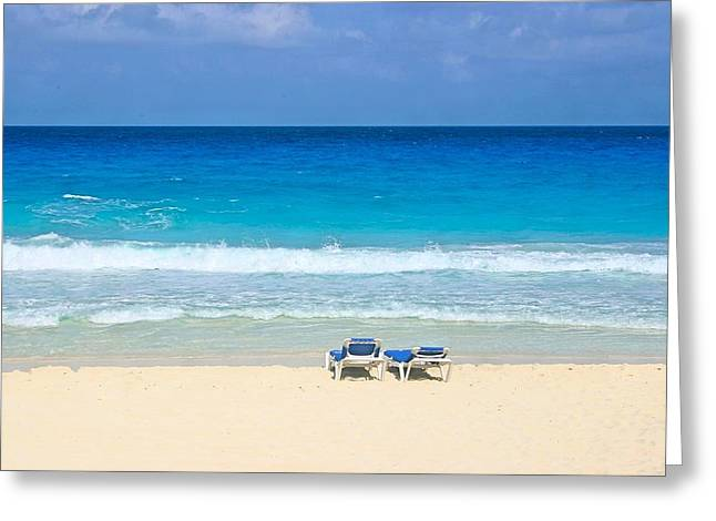Two Chairs On Cancun Beach Greeting Card