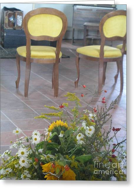 Two Chairs With Flowers Greeting Card