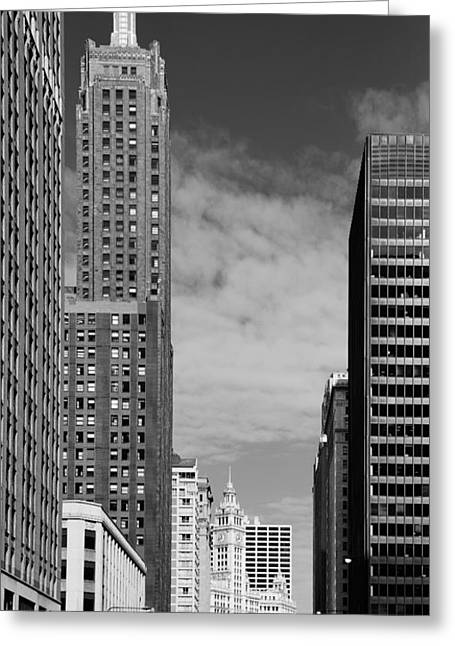 Two Chicago Classics- Carbide And Carbon And Wrigley Building Greeting Card by Christine Till