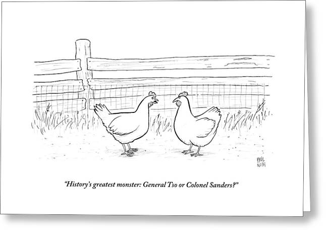 Two Chickens Discuss History Greeting Card