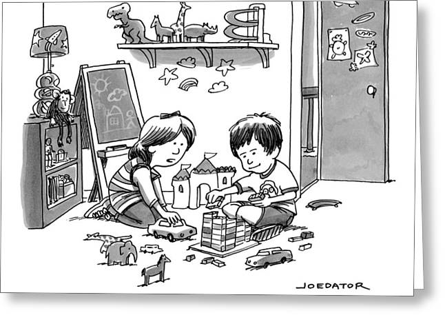 Two Children Converse While Playing With Blocks Greeting Card