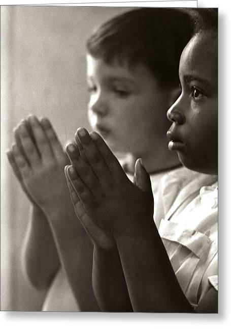Two Children Praying In Sunday School Greeting Card