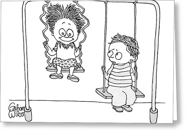 Two Children Sit On Swings Greeting Card