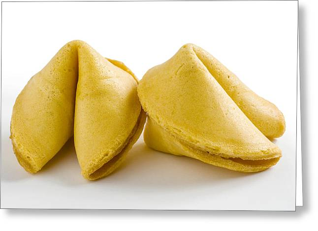 two Chinese fortune cookies Greeting Card