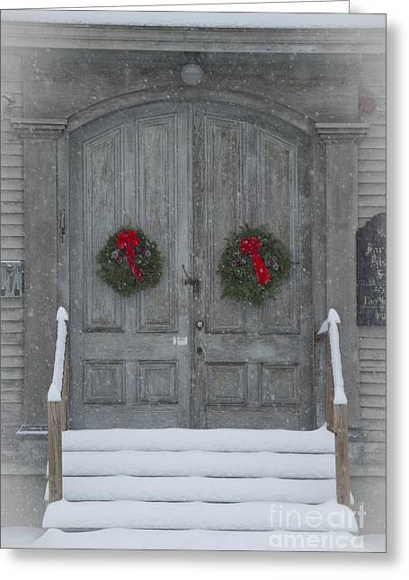 Two Christmas Wreaths Greeting Card by Alana Ranney