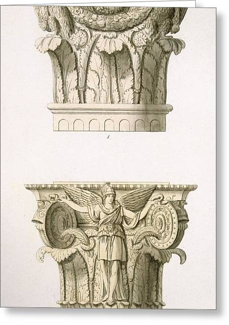 Two Column Capitals Greeting Card by English School