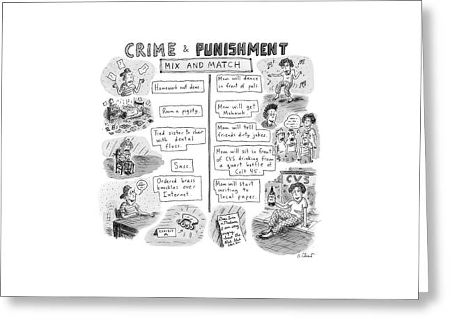 Two Columns Contain Entries. The Left Column Greeting Card by Roz Chast