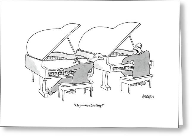 Two Concert Pianists Play Side-by-side Greeting Card by Jack Ziegler