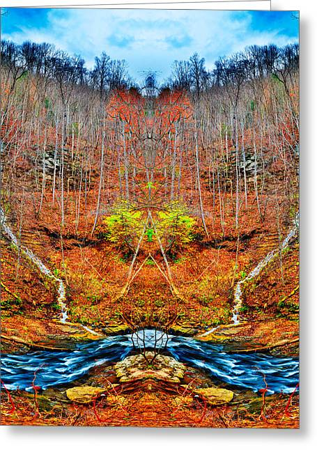 Greeting Card featuring the photograph Two Converging Water Falls by Dennis Dame