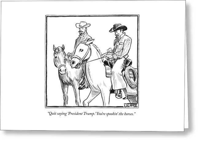 Two Cowboys On Horseback Converse Greeting Card